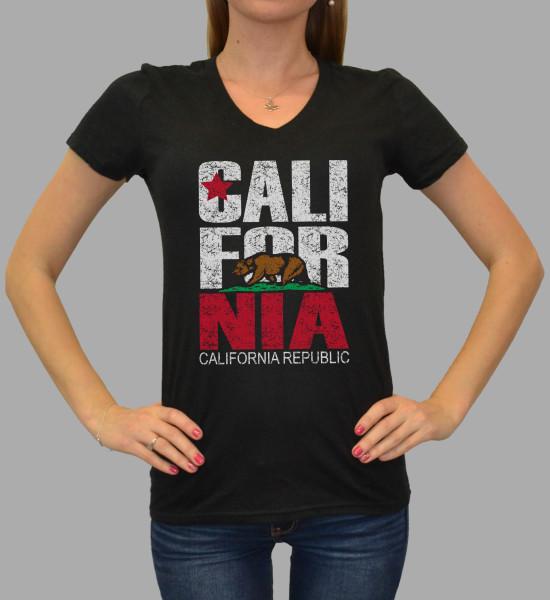 Dist. CA Flag V Neck Baby Doll